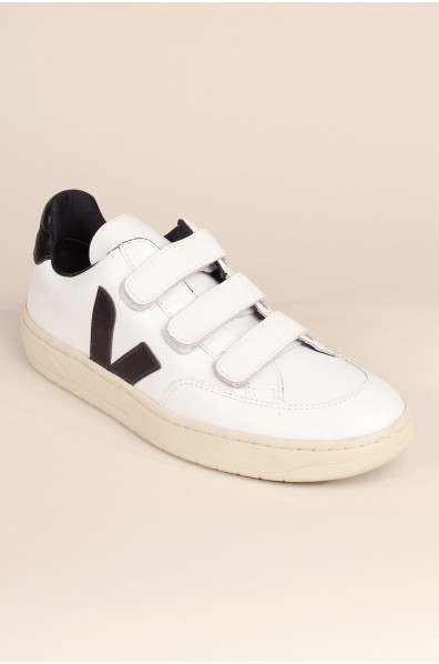 VEJA V12 VELCRO LEATHER EXTRA WHITE BLACK