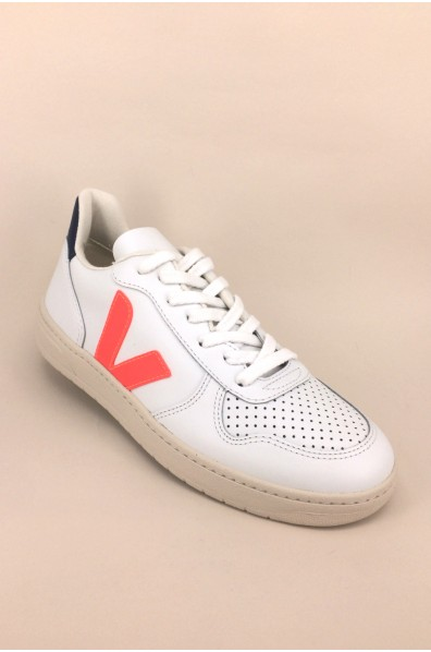 VEJA V10 LEATHER EXTRA WHITE ORANGE FLUO COBALT
